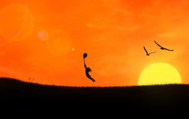 Фото обои девушка, закат, птицы, газон, шарик, полёт