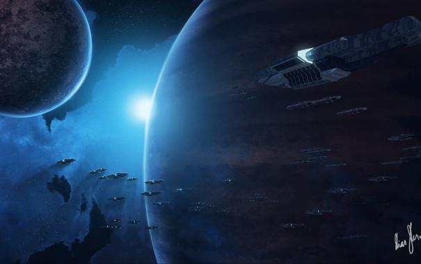 Фото обои космос, туманность, фантастика, звезда, планеты, корабли, арт