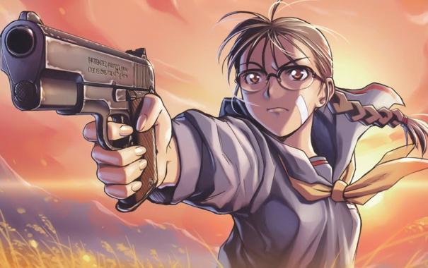 Фото обои пистолет, очки, hiroe rei