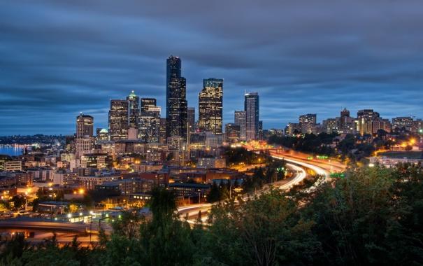 Фото обои Сиэтл, ночь, Вашингтон, огни, Seattle, Night, Washington