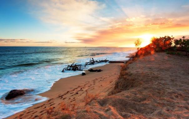 Фото обои море, пейзаж, закат, берег, beach, sea, sunset