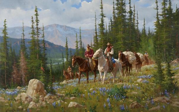Фото обои лес, горы, природа, кони, америка, forest, всадники