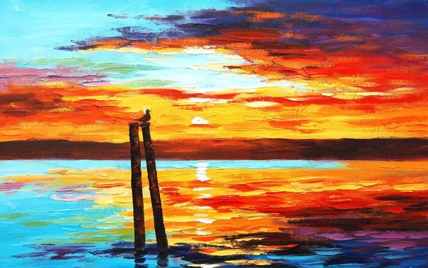 Фото обои небо, вода, солнце, закат, птица, арт, красиво