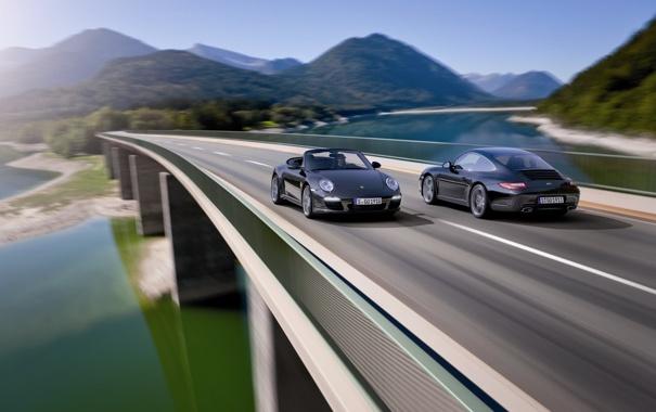 Фото обои машины, пейзажи, вид, дороги, скорость, Porsche, тачки