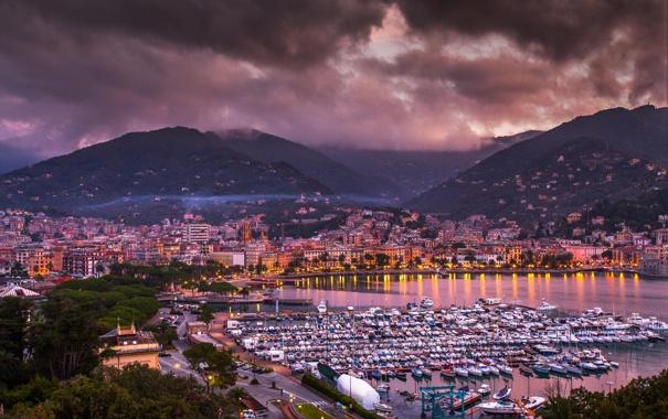 Фото обои море, горы, город, бухта, яхты, вечер