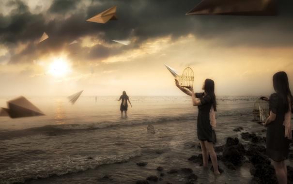 Фото обои plane, dream, paper, sunset