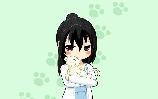 Фото обои кошка, след, аниме, неко, манга, комедия, mitsudomoe