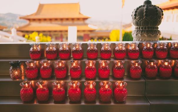 Фото обои огонь, храм, свечки