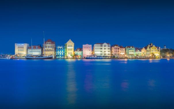 Фото обои город, Blue Hour, Willemstad