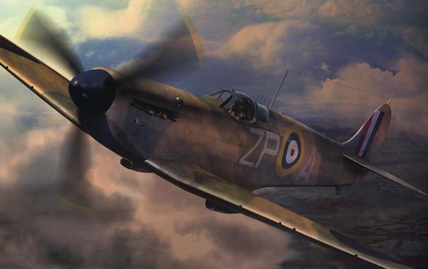 Фото обои небо, облака, самолет, истребитель, пилот, британский, mk1