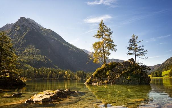 Фото обои пейзаж, природа, озеро, гора