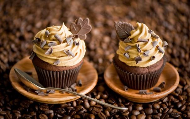 Фото обои кофе, шоколад, зерна, ложка, сладости, листочки, крем
