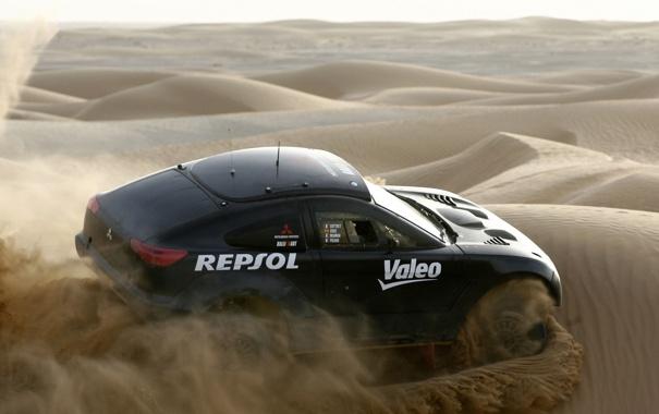 Фото обои гонка, песок, Mitsubichi