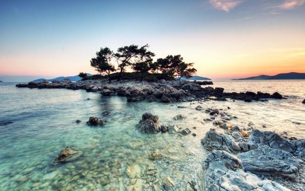Фото обои море, небо, пейзаж, природа, камни, остров, горизонт