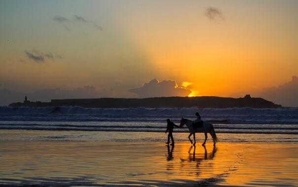 Фото обои море, волны, закат, прогулка