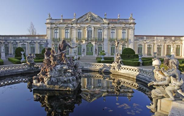 Фото обои вода, пруд, вид, статуя, дворец, Queluz, Келуш