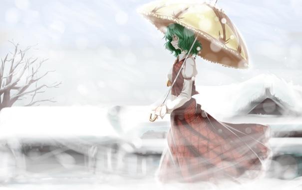 Фото обои холод, зима, девушка, улыбка, настроение, зонт, touhou