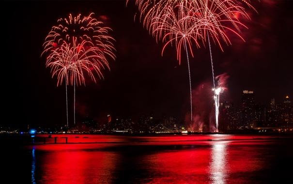Фото обои ночь, город, огни, праздник, фейерверк, нью-йорк, манхеттен