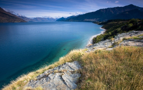 Фото обои море, пляж, небо, трава, вода, деревья, горы