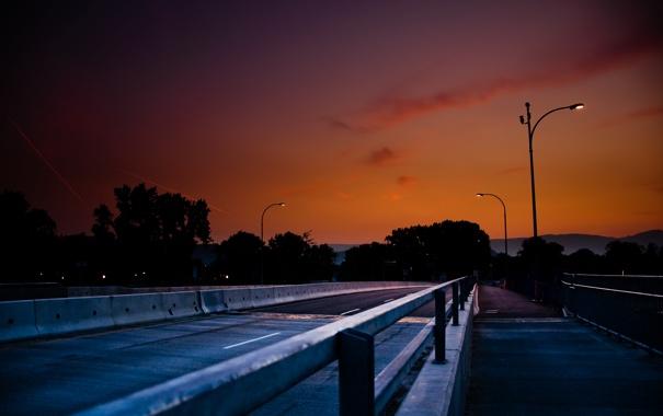 Фото обои дорога, небо, вечер, фонари