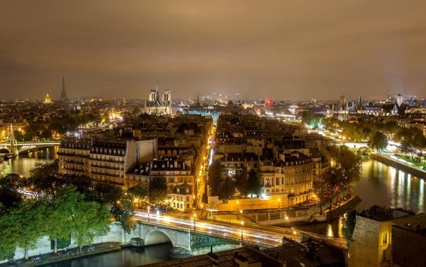 Фото обои ночь, мост, город, река, Франция, Париж, здания