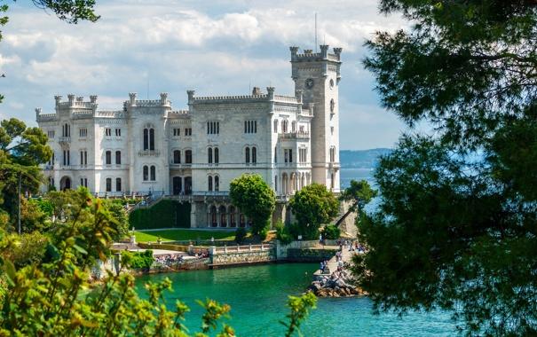 Фото обои замок, Италия, побережье, Miramare Castle, море