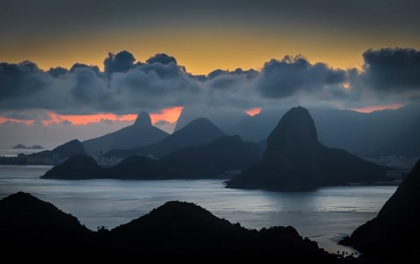 Фото обои облака, горы, залив, сумерки, Бразилия, Рио-де-Жанейро, Нитерой
