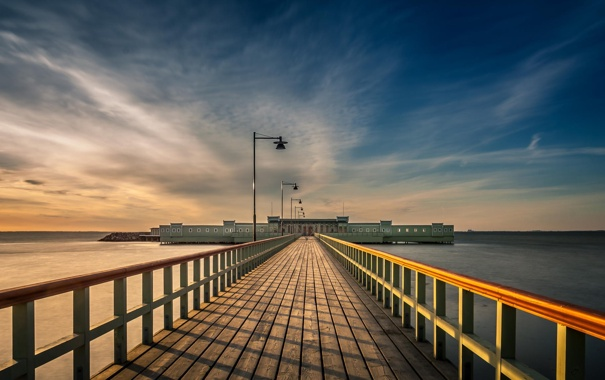 Фото обои океан, берег, здание, пристань, пирс