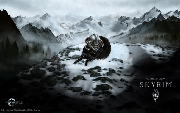 Фото обои снег, горы, тень, skyrim, викинг, viking, shadow