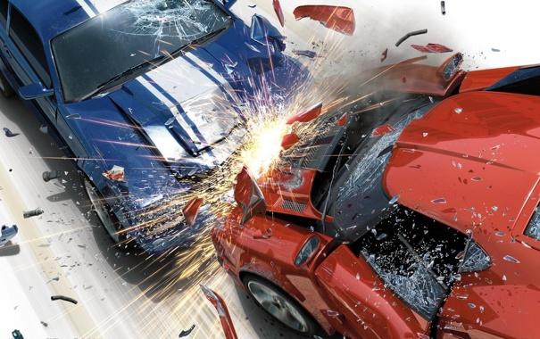 Фото обои машины, искры, столкновение, авария, Burnout, Revenge, осколки