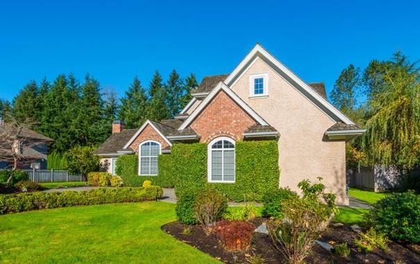 Фото обои зелень, небо, трава, деревья, дизайн, дом, газон