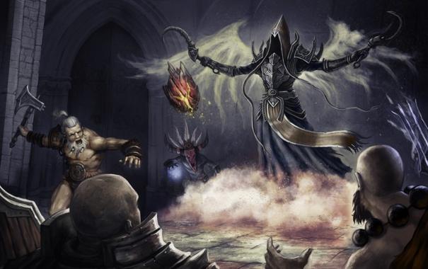 Фото обои камень, Diablo 3, demon hunter, monk, crusader, barbarian, witch doctor