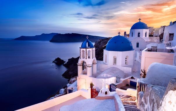 Фото обои море, дома, Санторини, Греция