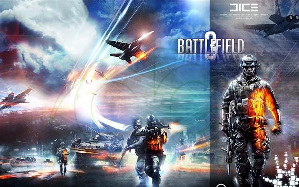 Фото обои самолеты, солдаты, танк, поле битвы, battlefield 3, сержант, авиция