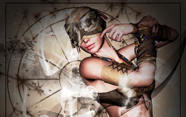 Фото обои девушка, дым, руки, арт, повязка