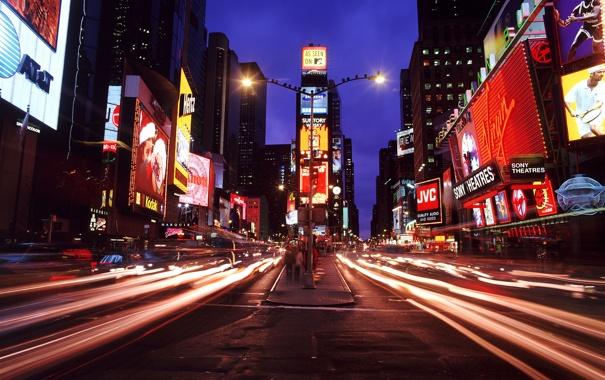 Фото обои нью-йорк, ночной город, мегаполис, таймс-сквер