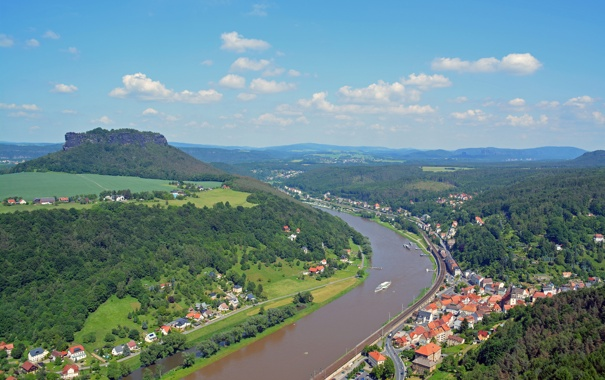 Фото обои небо, город, река, гора, Германия, Эльба, Кенигштайн