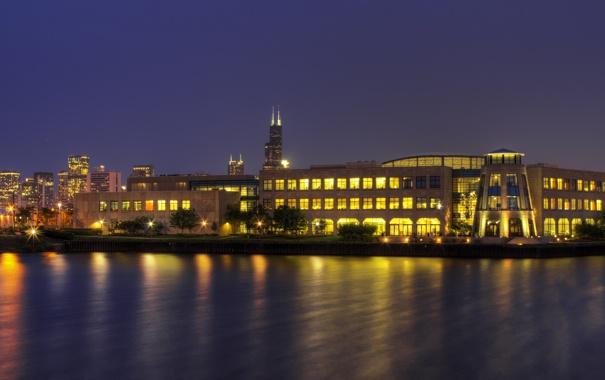 Фото обои город, вечер, Чикаго, Chicago, Noble Square, Wrigley Global Innovation Center