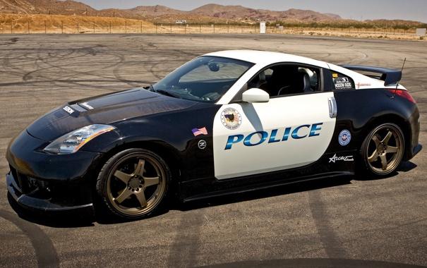 Фото обои асфальт, пустыня, полиция, Nissan, Police, ниссан, 350Z