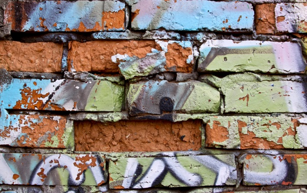 Фото обои broken bricks, green, black, painting in aerosil, painted wall, Orange, blue