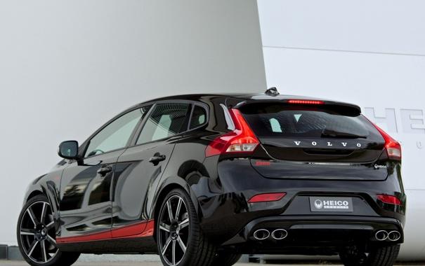 Фото обои машина, Volvo, black, задок, V40, Heico Sportiv