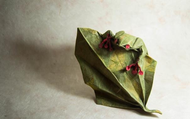 Фото обои фон, лягушка, оригами