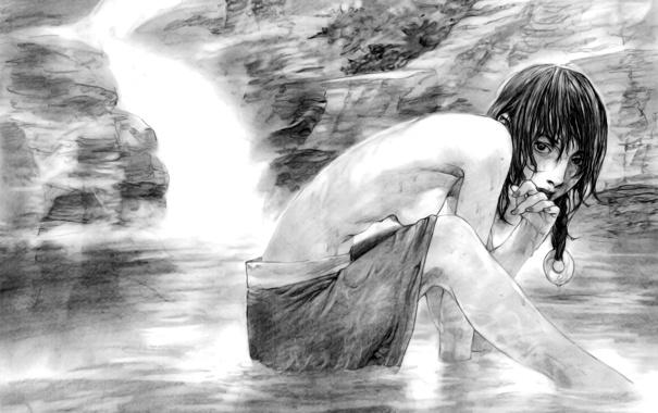 Фото обои девушка, рисунок, черно белый, размытость, рисунок карандашом