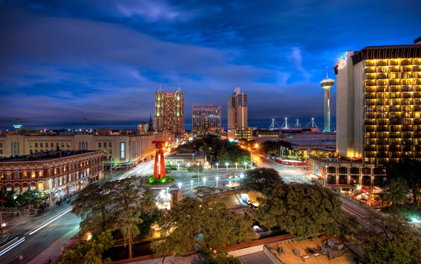 Фото обои ночь, night, Downtown, usa, Texas, Техас, San Antonio