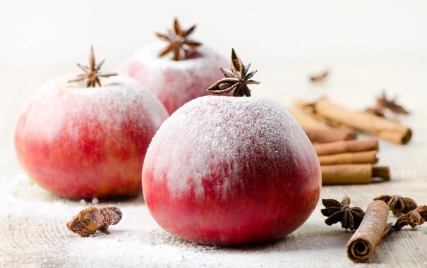 Фото обои зима, яблоки, Новый Год, Рождество, красные, фрукты, корица