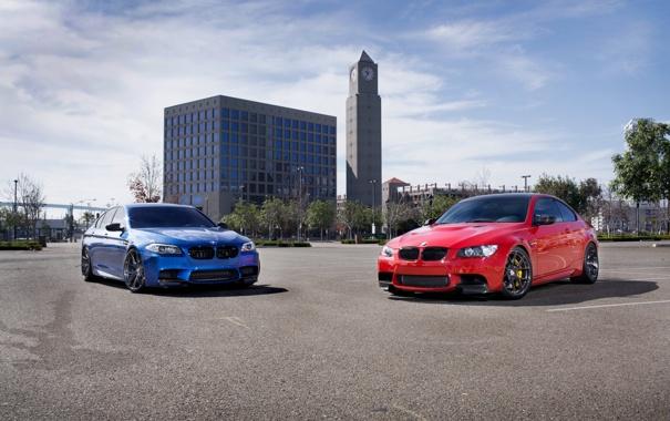 Фото обои небо, облака, синий, красный, купе, BMW, БМВ