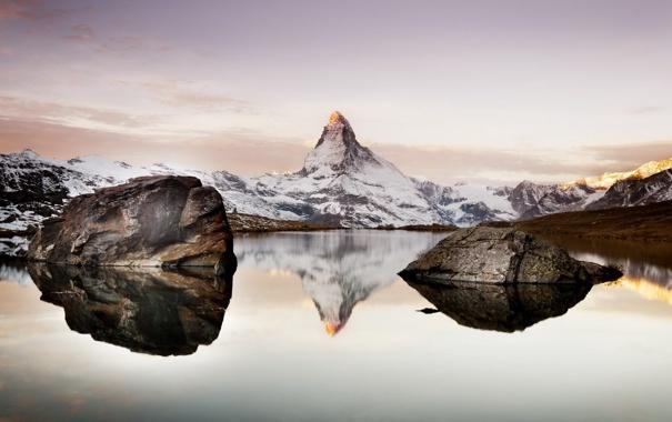 Фото обои снег, горы, озеро, камни