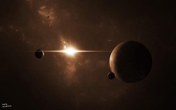 Фото обои свет, туманность, звезда, планеты, луны, комета