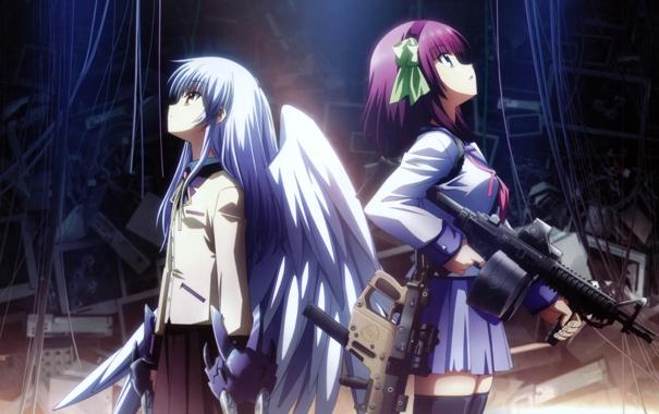Фото обои крылья, ангел, аниме, автомат, Anime, Tenshi, ангельские ритмы