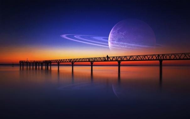 Фото обои небо, звезды, закат, мост, одиночество, фантастика, человек